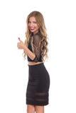 Elegante Frau gibt wie und Lächeln Lizenzfreie Stockbilder