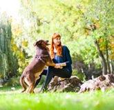 Elegante Frau hat Spaß mit ihrem großen Hund im Park Lizenzfreie Stockbilder