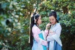 Elegante Frau im alten Kostüm des chinesischen traditionellen Dramas Lizenzfreie Stockbilder