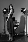 Elegante Frau mit klassischer Hollywood-Welle Stockfotos