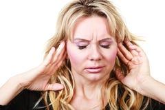 Elegante Frau mit Kopfschmerzen Lizenzfreie Stockbilder