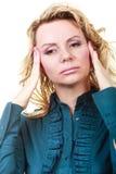 Elegante Frau mit Kopfschmerzen Lizenzfreies Stockfoto