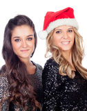 Elegante Frauen, die Weihnachten feiern Lizenzfreie Stockbilder