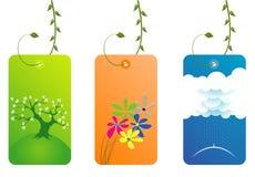 Elegante frische Visitenkarten mit Blättern Stockfotos