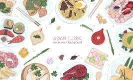 Elegante gekleurde hand getrokken achtergrond met traditioneel Aziatisch voedsel, gedetailleerde smakelijke maaltijd en snacks va royalty-vrije illustratie
