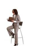 Elegante Geschäftsfrau mit Timer lizenzfreie stockfotos