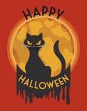 Elegante Gestileerde Gekke Kat in Halloween-Affiche, Vectorillustratie Stock Foto