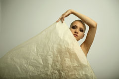 Elegante girl with paper Stock Photography