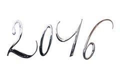 2016, elegante glänzende Buchstaben des Silbers 3D Metalllokalisiert auf Weiß Lizenzfreie Stockfotos