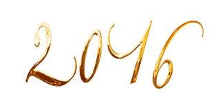 2016, elegante glanzende 3D gouden die metaalbrieven op wit worden geïsoleerd Stock Foto's