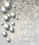 Elegante glanzende Kerstmisachtergrond met snuisterijen Stock Fotografie