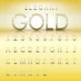 Elegante Goldalphabet- und -zahlsammlung Lizenzfreies Stockbild