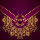 Elegante goldene Rahmenfahne Lizenzfreies Stockbild