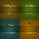 Elegante goldene Rahmenfahne Lizenzfreie Stockbilder