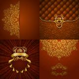 Elegante goldene Rahmenfahne Stockfotos