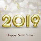 Elegante Goldfolie steigt glänzendes guten Rutsch ins Neue Jahr 2019 der Illustrations-3D im Ballon auf Stockfoto