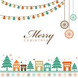 Elegante groetkaart voor Vrolijke Kerstmis Royalty-vrije Stock Afbeelding