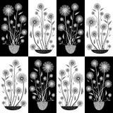 Elegante hand getrokken witte en zwarte bloemen in half dalingsontwerp E Groot voor vector illustratie