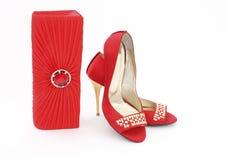 Elegante handtas en schoenen voor vrouwen Stock Foto