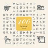 Elegante 100 het winkelen geplaatste pictogrammen Stock Fotografie