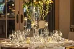 Elegante Hochzeitsempfanganordnung Stockfoto
