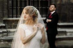 Elegante Hochzeitspaare, die im alten Hof im europäischen stree aufwerfen stockbild
