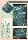 Elegante huwelijksuitnodiging, in schaduwen van donkergroen en lichtgroen, met sparen de datum royalty-vrije stock foto