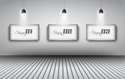 Elegante infographics Designschablone mit shopfront Elementen. Stockfoto