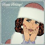 Elegante jonge en gelukkige vrouw in de winter, retro Kerstkaart Stock Foto