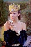 Elegante junge Frau gekleidet wie Königin Lizenzfreies Stockbild