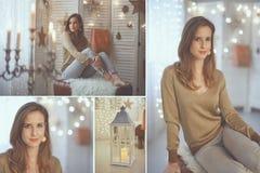 Elegante junge Frau mit Weihnachtslichtern stockbild