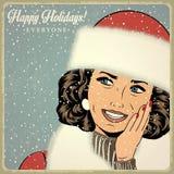Elegante junge und glückliche Frau im Winter, Retro- Weihnachtskarte stock abbildung