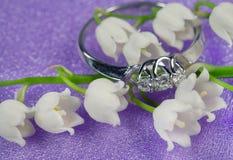 Elegante juwelen en lelietje-van-dalen Royalty-vrije Stock Fotografie