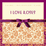 Elegante kaart met rozen Royalty-vrije Stock Foto's
