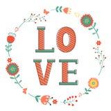 Elegante Karte mit Liebeswort im Kranz Stockfoto