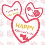 Elegante Karte Rote Rose Liebe und Freundschaft Herz und Blume Lizenzfreie Stockfotos