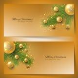 Elegante Kerstmisbanners met Kerstboom en Kerstmisspeelgoed Royalty-vrije Stock Afbeeldingen