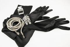 Elegante lange schwarze Handschuhe Stockfotografie