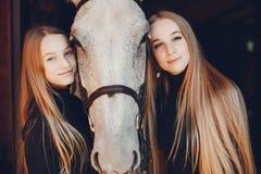 Elegante Mädchen mit einem Pferd in einer Ranch stockfotografie