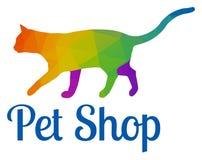 Elegante mehrfarbige Cat Logo Template Lizenzfreie Stockfotografie