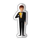 Elegante mens met trofeewinnaar Stock Afbeelding
