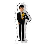 Elegante mens met trofeewinnaar Royalty-vrije Stock Foto