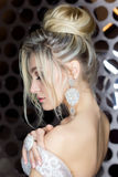 Elegante mooie meisjesbruid met een mooie feestelijke haarbruid in een huwelijkskleding met ornamenten op het hoofd, grote krista royalty-vrije stock afbeelding