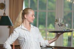 Elegante mooie vrouwen dienende dranken stock foto's