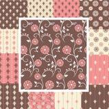 Elegante naadloze patronen in roze en bruine kleuren Royalty-vrije Stock Afbeelding