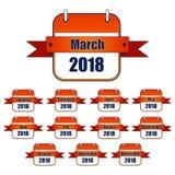 Elegante, pendiente, iconos rojos del calendario/logotipos para 2018, con una cinta/una bandera Uno para cada mes Imágenes de archivo libres de regalías