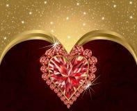 Elegante prentbriefkaar met robijnrood hart Stock Foto's