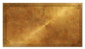 Elegante rústico do ouro de bronze da placa do praga do sinal imagem de stock royalty free