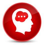 Elegante rode ronde knoop van het hersenen de hoofdpictogram Stock Foto