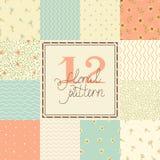 12 elegante romantische vector naadloze patronen (het betegelen). Stock Foto